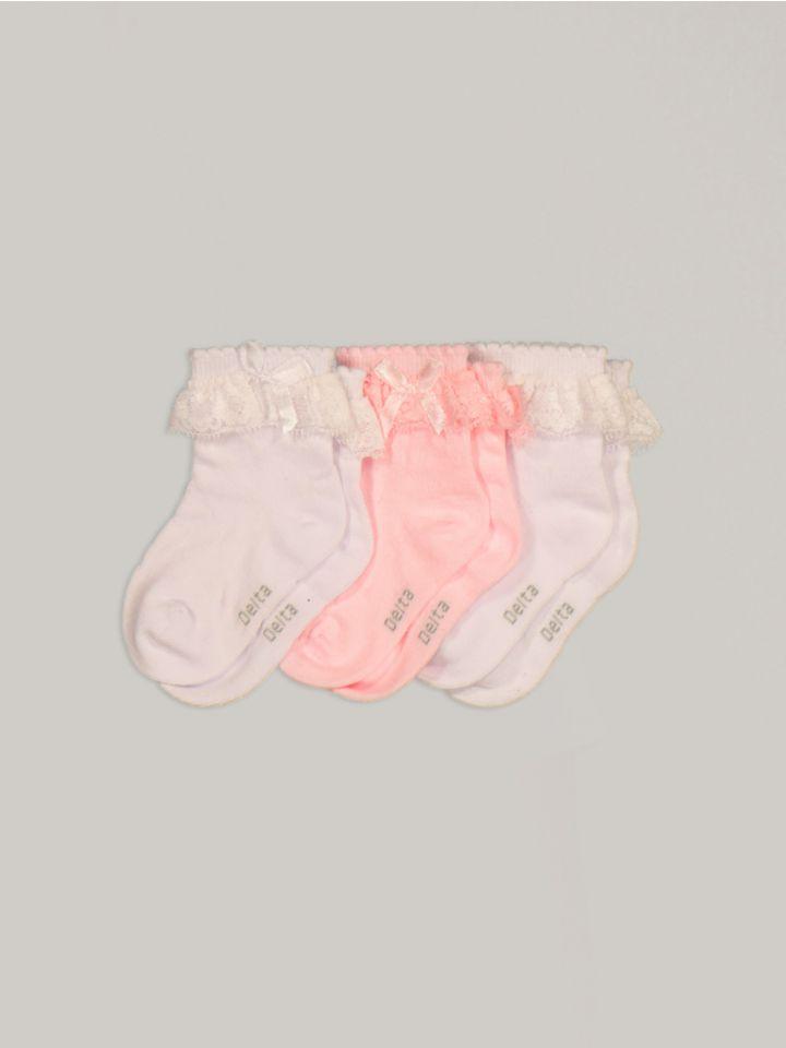 מארז 3 זוגות גרבי תינוקות LACE&BOW