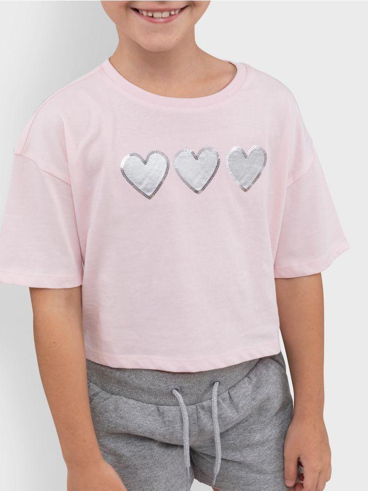 חולצת טי קצרה HEARTS PRINT
