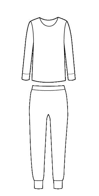 סט פיג'מה חולצה ארוכה מכנסיים ארוכים