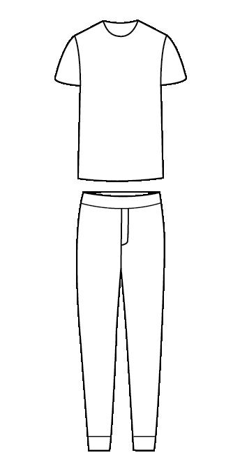 סט פיג'מה חולצה קצרה מכנסיים ארוכים